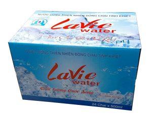 Sản xuất thùng carton đựng nước uống đóng chai Lavie